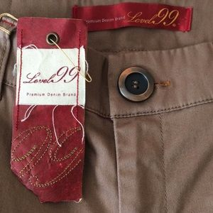 Level 99 flared wide leg khaki jeans
